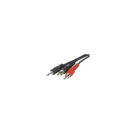 Cordon stéréo jack 3.5mm vers 2xRCA mâle - 10M