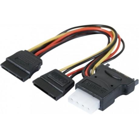 Doubleur d alimentation SATA vers 2 SATA et 1 Molex - 30 cm