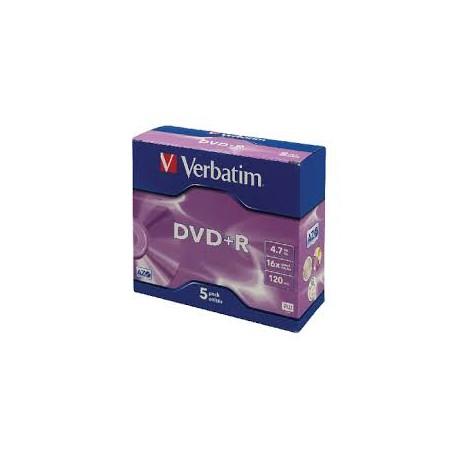 Verbatim DataLifePlus - Pack de 5 DVD+R - 4.7 Go 16x avec boitier cd standard