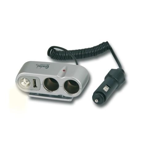 Doubleur allume cigare avec port USB et lampe