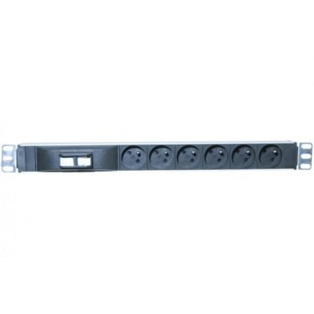 Multiprise rackable 19'' 1U 6 prises avec disjoncteur